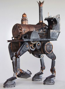 Steampunk Iron Horse (cut paper) by Phillip Valdez
