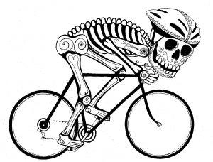 skeleton on bike b&w